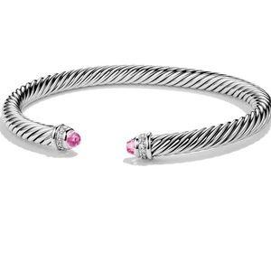 David Yurman pink tourmaline diamond 5mm bracelet